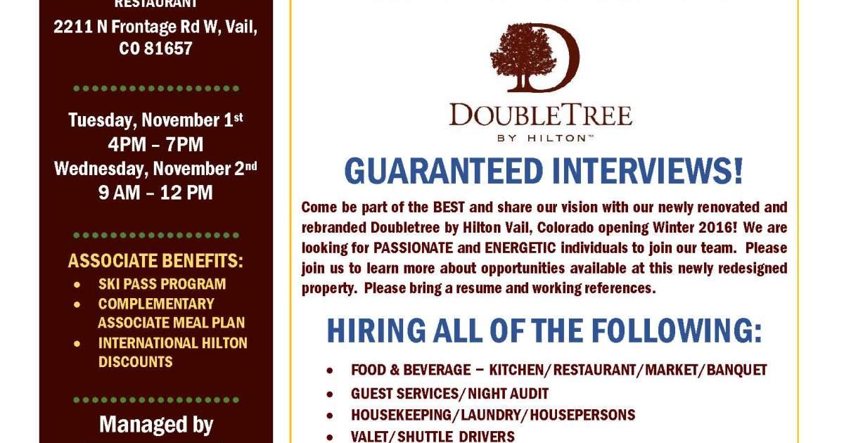 DoubleTree by Hilton Vail - Career Fair   VVP Events Calendar