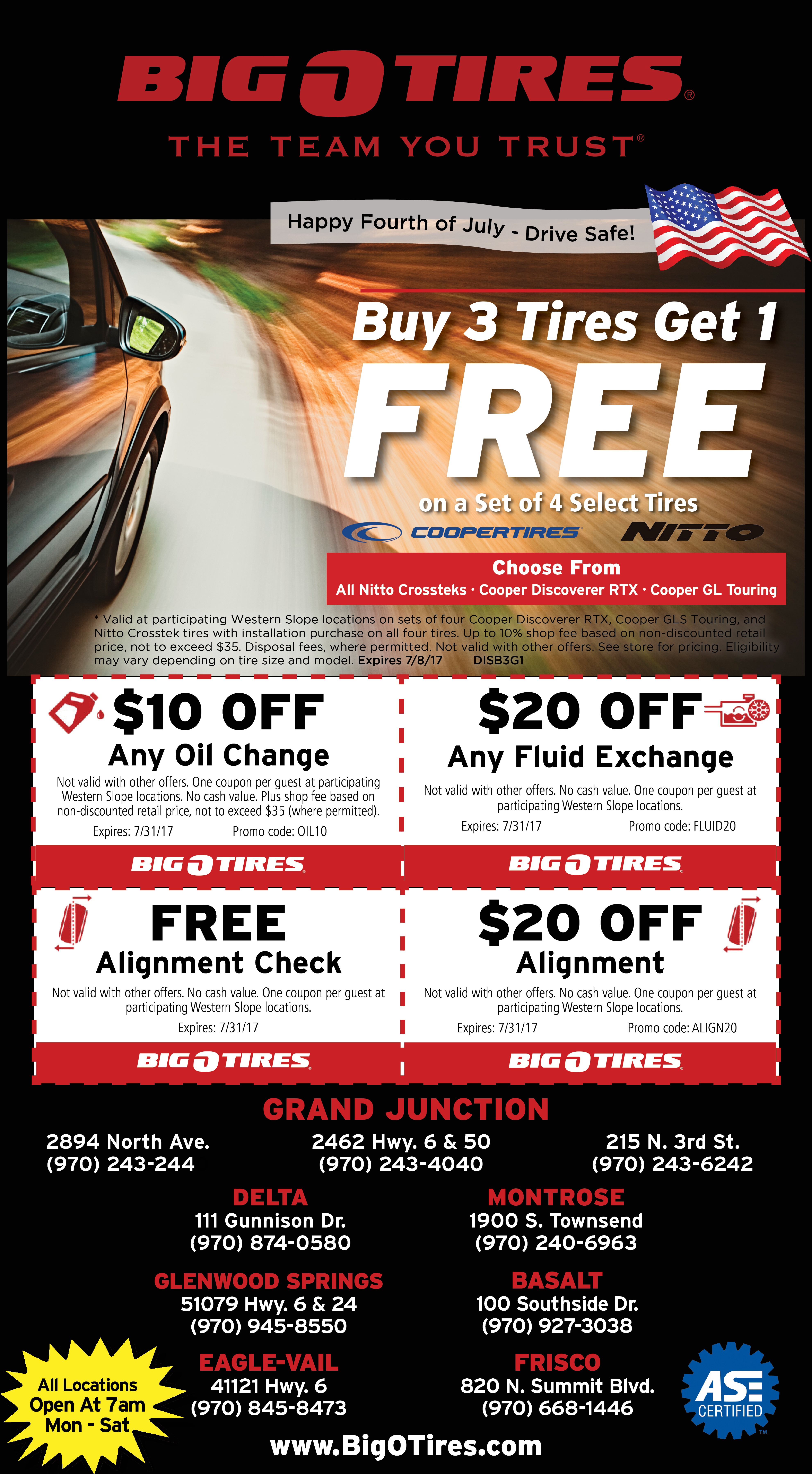 Big O Tires stores in Southern California & Las Vegas are currently running a Friends & Family Buy 2 Get 2 Free Sale. The Buy 2 Get 2 Free offer is a package that includes a one-year alignment and their tire protection plan (free rotations, free balancing, free .